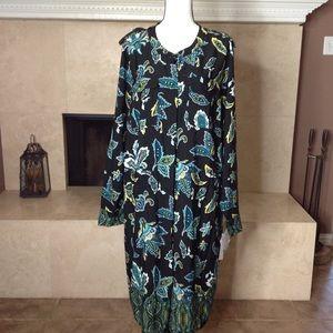Liz Claiborne Plus 3X Long Sleeve Silk Road Dress